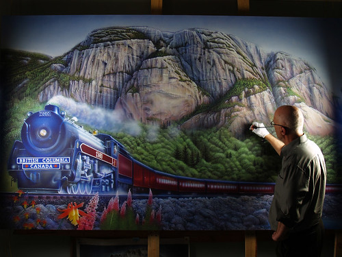 portrait vancouver train painting artist squamish thechief airbrush royalhudson carlchaplin