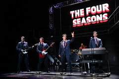 (l to r) Keith Hines, Nicolas Dromard, Hayden Milanes and Drew Seeley in the Broadway Sacramento presentation of JERSEY BOYS at the Community Center Theater Nov. 5 – 22, 2014. Photo by Joan Marcus.