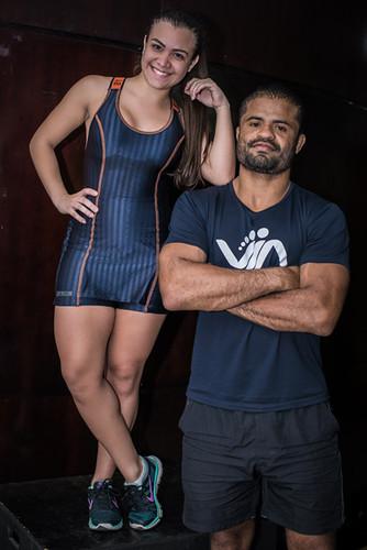 Thainá Yasmin e o personal Trainer Aurélio Diniz