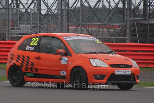Elliot Wilson in the BRSCC Fiesta Junior Championship at Silverstone, August 2015