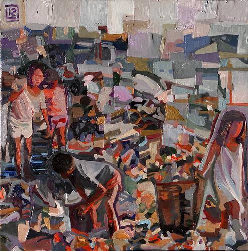 Discarichome, tecnica mista su tela, 30×30, 2012