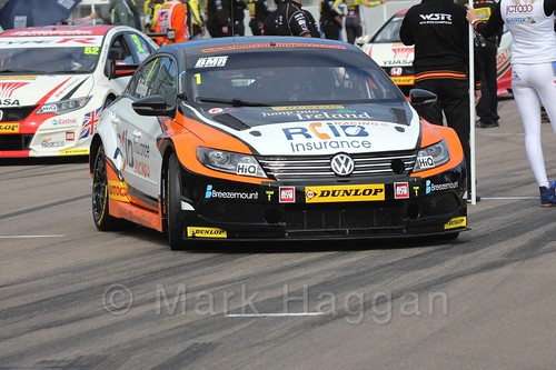 Colin Turkington on the grid at the BTCC weekend at Rockingham, September 2015