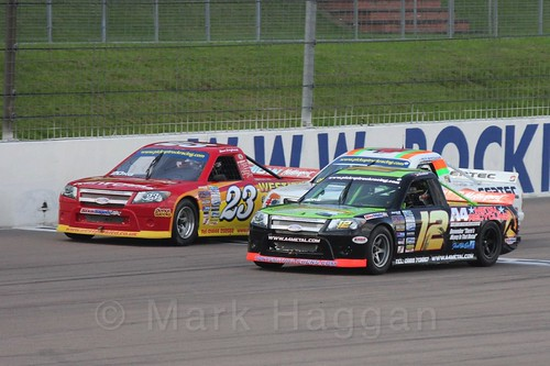 Three abreast in Pick Up Truck Racing, Rockingham, Sept 2015