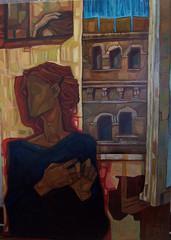 Autoritratto alla finestra, olio su tela, 50×70, 2005
