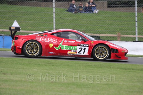The Rosso Verde Ferrari 458 Italia GT3 of Hector Lester and Benny Simonsen in British GT Racing at Donington, September 2015