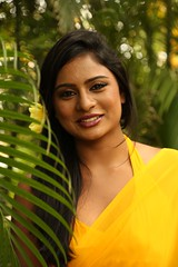 South Actress Deepika Das Hot in Yellow Sari Photos Set-2