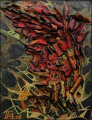 Fiamma, tecnica mista su tavola, 35×50 2005