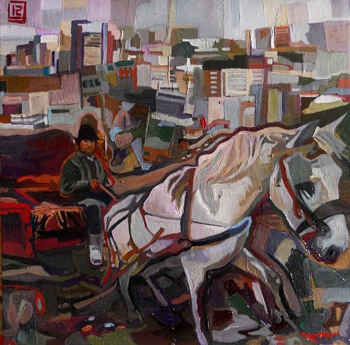 Scappo dalla città, la morte, l'odio e le carcasse, tecnica mista su tela, 30×30, 2012