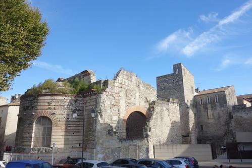 Pelico termine sa ballade le long du Rhône, devant d'anciens thermes romains