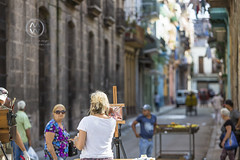 A painter painting in Havana.