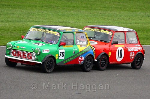 Stuart Coombs and Greg Jenkins get close in Mighty Minis at Donington Park, October 2015
