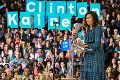 First Lady Michelle Obama speaks to students attending a rally at La Salle University for Democratic presidential candidate Hillary Clinton on September 28, 2016, Philadelphia