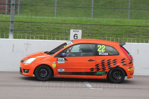 Elliot Wilson in  Race 2 at the BRSCC Fiesta Junior Championship, Rockingham, Sept 2015