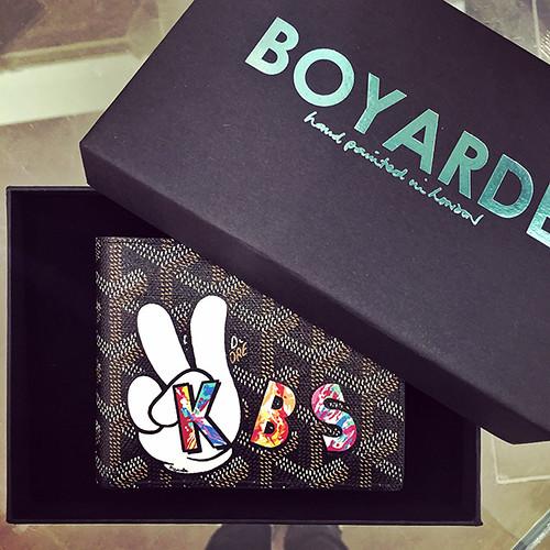 Badge and Alphabet peace sign splatter on Goyard wallet KBS