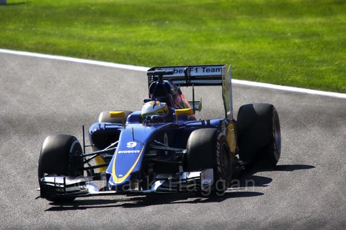 Marcus Ericsson in Free Practice 3 at the 2015 Belgian Grand Prix