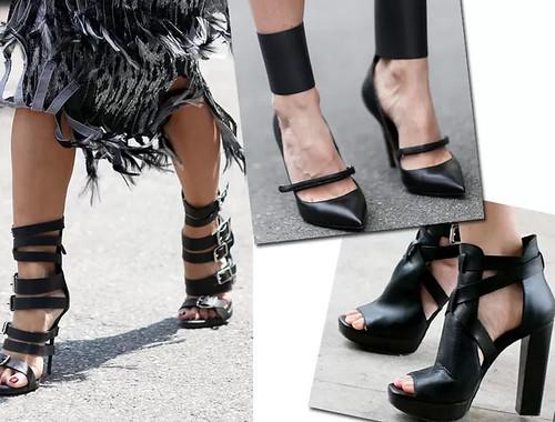 Sapatos pretos com design