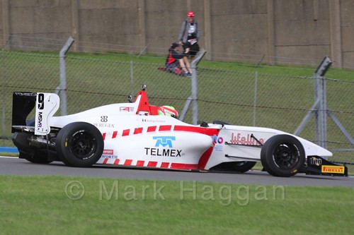 Lanan Racing's Rodrigo Fonseca in BRDC F4 Race 3 at Donington Park, September 2015