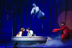 Alison Woods as Ariel, Eric Kunze as Prince Eric, Jamie Torcellini as Scuttle, Melvin Abston as Sebastian in Disney's The Little Mermaid presented by Broadway Sacramento at the Community Center Theater Feb 2-7, 2016.  Photo: Bruce Bennett courtesy of TUTS