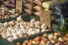 Various food items in a local outdoor market.