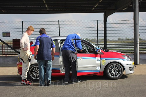 Carlito Miracco in scrutineering after Race 1, Fiesta Junior Championship, Rockingham, Sept 2015
