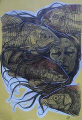 Acquario koi, penna a biro, pastelli e tempera su carta, 2013