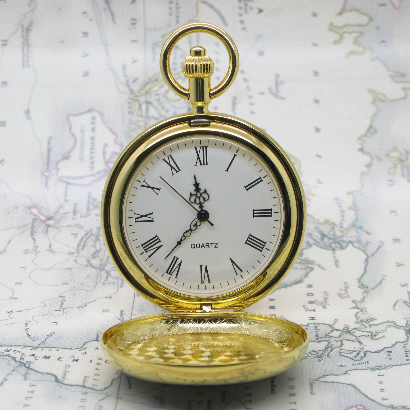 Rare Russian Eagle Gold Antique Mens Quartz Pocket Watch With Chain T Box C30