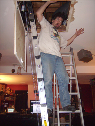 20110108 1726 - attic ladder installation - double ladder combo power-up - GEDC2085