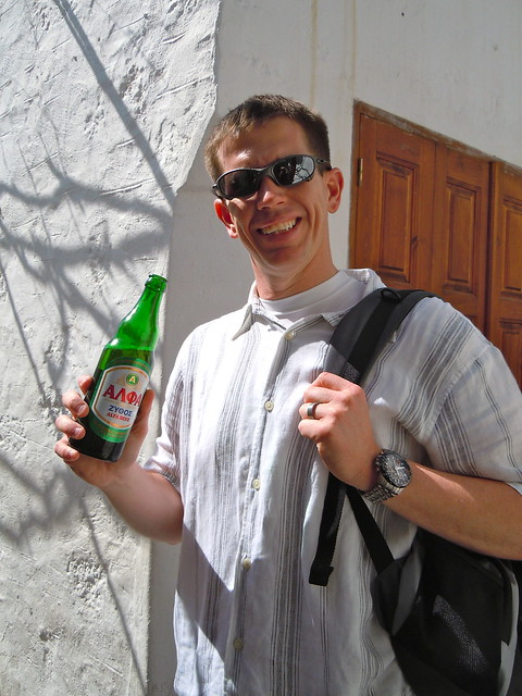 he enjoyed a local beer at each port