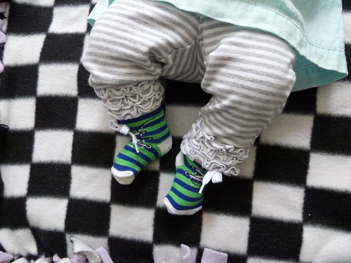 special socks for first day at daycare, and trip into meet peoples at the library