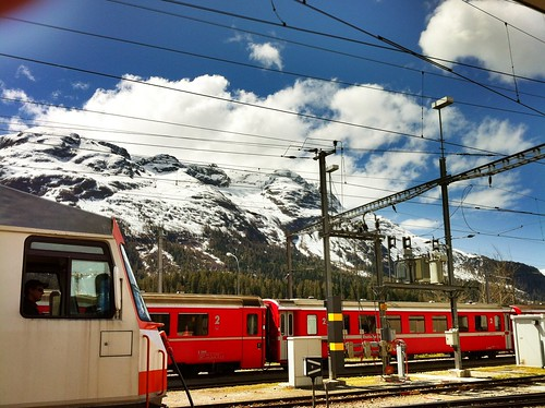 swiss trains in St. Moritz
