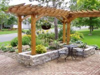 Front Yard Patio, Entry L Shaped Pergola and Chilton Stone ...