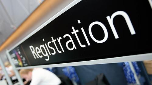 Registration desk sign
