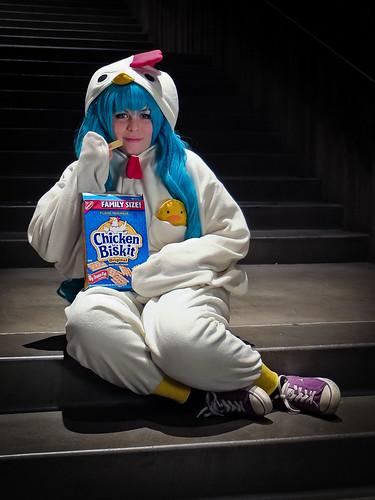 Katie as Chicken in a Biskit Miku