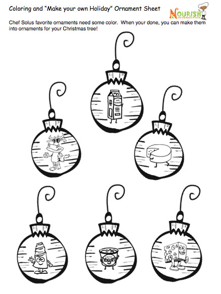 Food Group Holiday Ornaments Coloring Page for Kids-Free