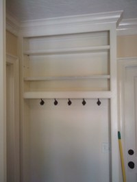 built-in coat rack with shelves and crown detail | Flickr ...