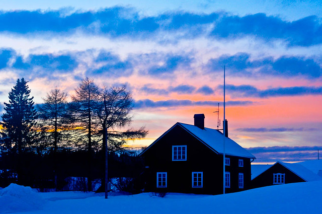 House and sunset