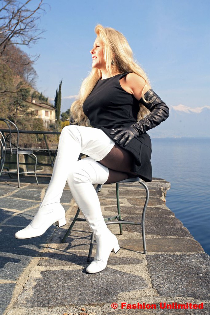 White Patent Thigh Boots 60s Style  wwwfashionunlimited