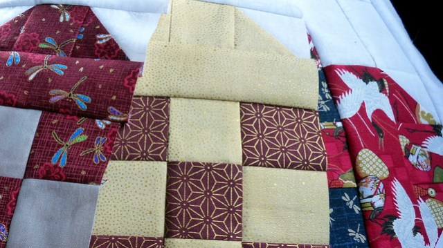 Hearts Blocks - reds with goldl