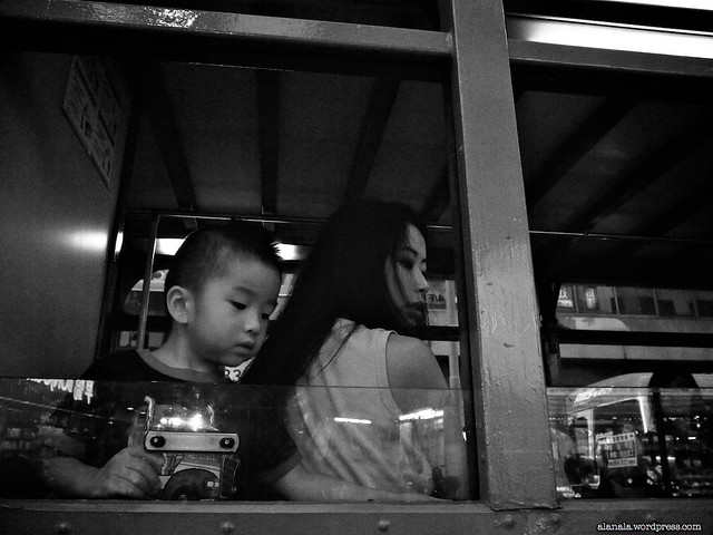 Kid and mom on a tram