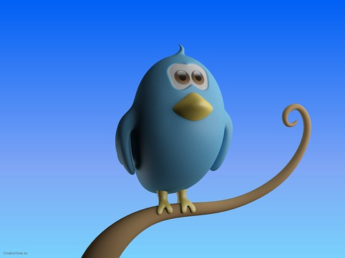CreativeTools.se - Twitter bird standing on branch - Close-up