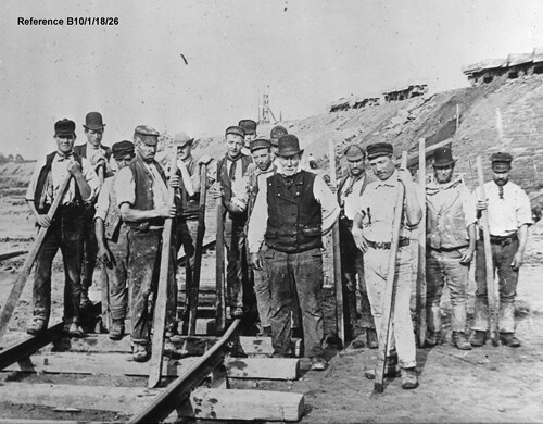 Construction of the Manchester Ship Canal, Gang of platelayers at Salt Eye, c.1890s. (GB124.B10/10/1/18/26).