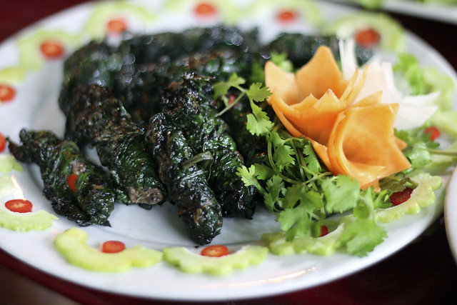 ground beef wrapped in betel leaf