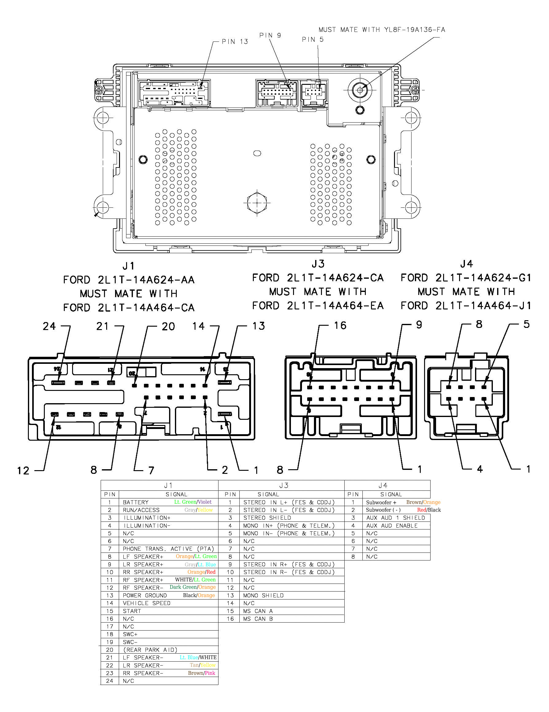2006 Ford F150 Radio Wiring Harness Shaker 500 Wire Color Diagram Pinout With Wire Colors
