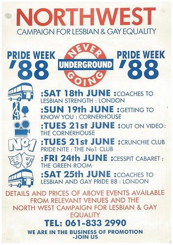 Never Going Undergroung Pride Week poster, Aug 1988 (GB127.M775/5)