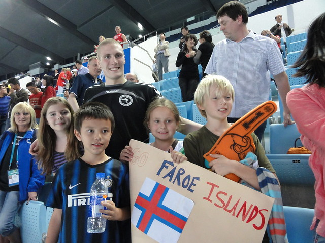 Faroese supporters with Pál in Dubai