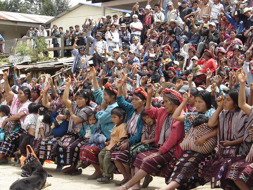 Community meeting regarding a mining project, Guatemala, 2005