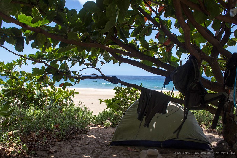 Our campsite on Kalalau Beach