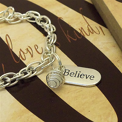Faith - Hope - Believe - Lung Cancer, Mesothelioma, Osteoporosis Awareness Charm Bracelet