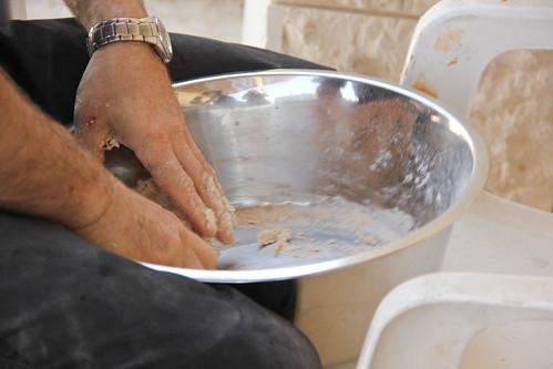 Mixing matzah dough