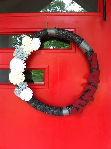 yarn wreath complete